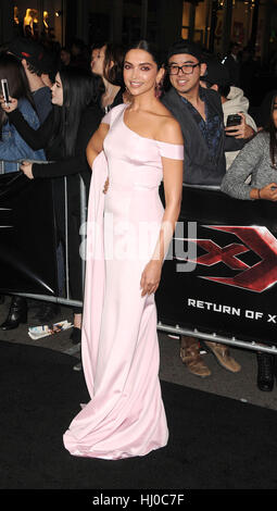 Hollywood, USA. 19th Jan, 2017. Actress Deepika Padukone at the 'xXx - Return of Xander Cage' premiere held at the - Stock Photo