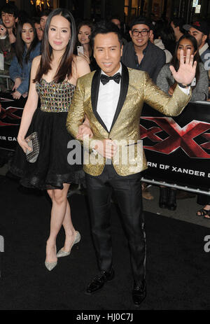 Hollywood, USA. 19th Jan, 2017. Actor Donnie Yen at the 'xXx - Return of Xander Cage' premiere held at the TCL Chinese - Stockfoto