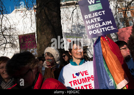 London, UK. 21st Jan, 2017. An estimated 100,000 people protested against the election of Donald Trump. The Womens' - Stock Photo