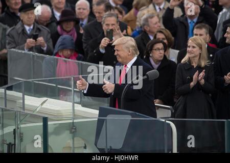 Washington, USA. 20th Jan, 2017. U.S. President Donald Trump delivers his Inaugural Address after taking the oath - Stock Photo