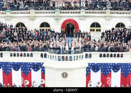President Donald Trump takes the Oath of Office at his inauguration on January 20, 2017 in Washington, DC Trump - Stock Photo