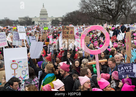 Washington, USA. 21st Jan, 2017.Demonstrators wave signs during the Women's March on Washington in protest to President - Stock Photo