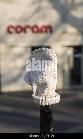 Baby Mitten by Tracey Emin next to The Coram Foundation and the Foundling Museum in Bloomsbury, London, England, - Stock Photo
