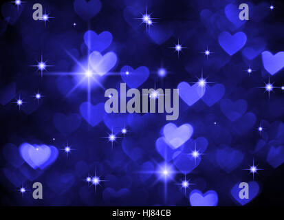 Heart background boke photo, dark blue color. Abstract holiday, celebration and valentine backdrop. - Stock Photo