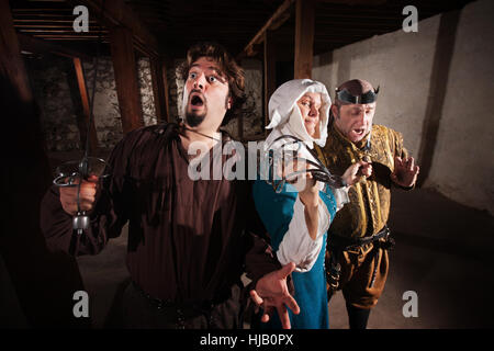 blank, european, caucasian, adult, brave, character, blade, anxious, afraid, - Stock Photo