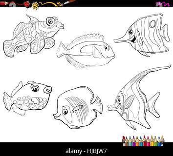 Black And White Cartoon Illustration Of Moorish Idol Fish Sea Life Stock Vector Art