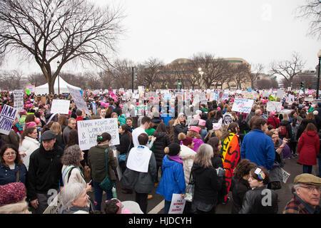 Washington, USA. January 21st, 2017. Women's March on Washington, DC: Crowds gathered on the National Mall to protest - Stock Photo