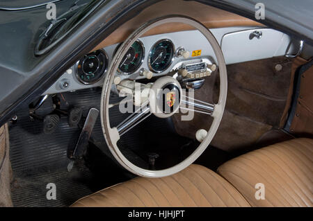 steering wheel and dashboard of a vintage porsche 550 spyder sports stock photo royalty free. Black Bedroom Furniture Sets. Home Design Ideas