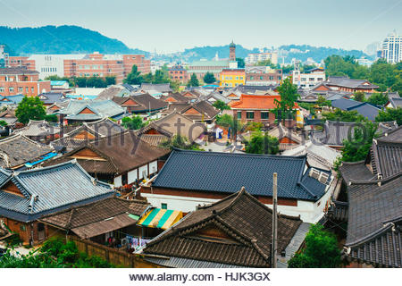 Jeonju, Korea - August 16, 2015 : Korean traditional roofing tile house in Jeonju Hanok village - Stock Photo
