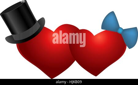 Two lovers heart zhensskoe and male. Vector illustration. - Stock Photo