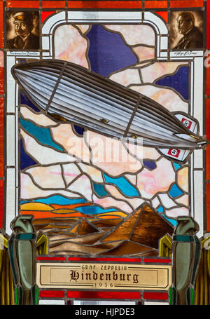 Milton, West Virginia - A stained glass window showing the Hindenburg on display at the Blenko Glass Company. - Stock Photo