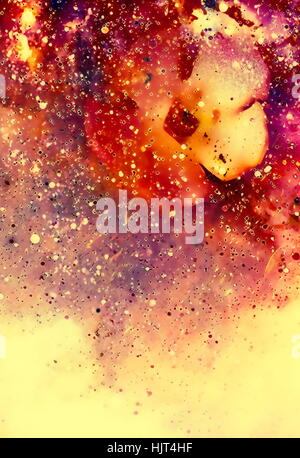abstract multicolor flower motive collage with dynamic fire effect in space. Copy space. - Stock Photo