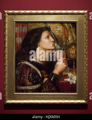 Painting Joan of Arc Kissing the Sword of Deliverance (1863) by English Pre-Raphaelite painter Dante Gabriel Rossetti - Stock Photo