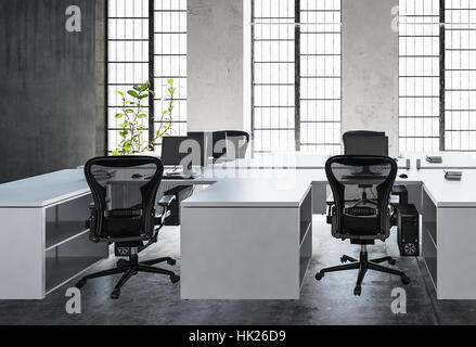 Modern office space with empty white desks, concrete walls and floor, with indoor plant against huge bright windows. - Stock Photo