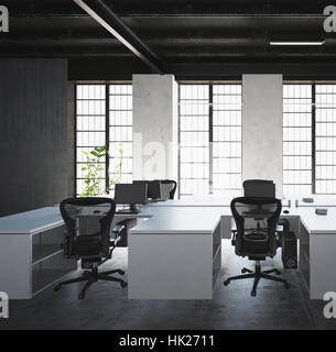 White desks with monitors and plastic armchairs against big light windows in modern office space interior in grey - Stock Photo