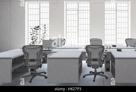 Office with empty workplaces well lit through big windows. Minimalist interior design architecture concept. 3d Rendering. - Stock Photo