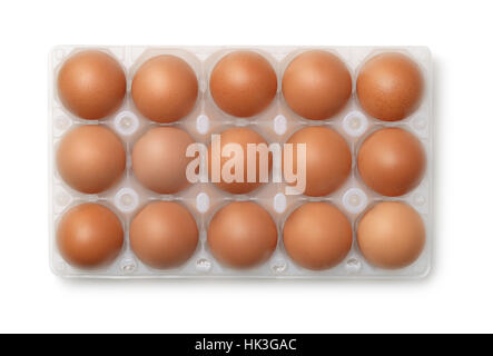 Top view of plastic egg carton with 15 eggs isolated on white - Stock Photo