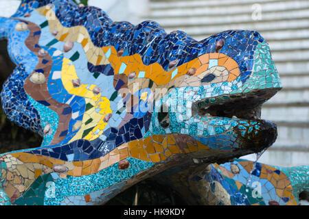 Mosaic lizard sculpture by Gaudi, Guell Park, Barcelona, Catalonia, Spain. - Stock Photo