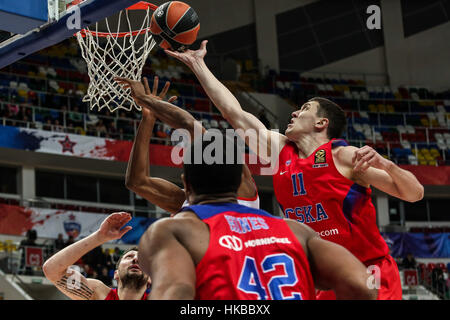 Moscow, Russia. 27th Jan, 2017. Semen Antonov (R) of CSKA Moscow from Russia goes up for the basket during the regular - Stock Photo