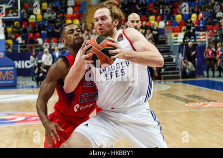 Moscow, Russia. 27th Jan, 2017. Cory Higgins (L) of CSKA Moscow from Russia vies with Alex Kirk of Anadolu Efes - Stock Photo