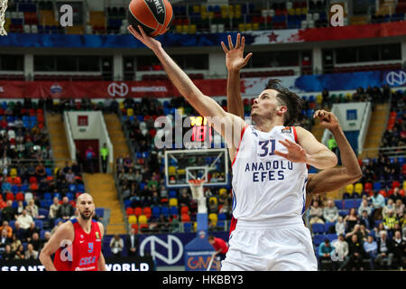Moscow, Russia. 27th Jan, 2017. Thomas Heurtel (front) of Anadolu Efes Istanbul from Turkey goes up for the basket - Stock Photo