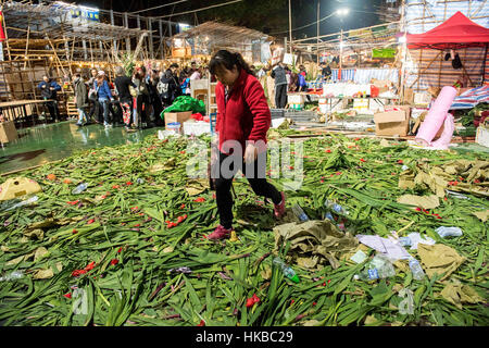 Hong Kong, China. 28th Jan, 2017. People fill the Lunar New Year fair in its final hours overnight in the hope of - Stockfoto