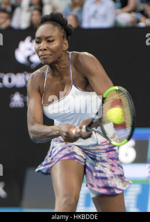 Melbourne, Australia. 28th Jan, 2017. United States' Venus Williams returns the ball during the women's singles - Stock Photo