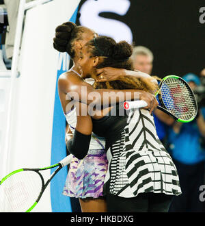 Melbourne, Australia. 28th Jan, 2017. Serena Williams of the USA wins her 23rd Grand Slam Title at the 2017 Australian - Stock Photo