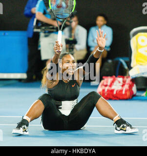 Melbourne, Australia. 29th Jan, 2017. Serena Williams of the USA after the matchball against her sister Venus Williams - Stock Photo