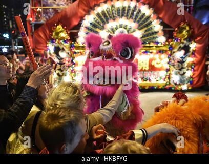 Hong Kong, China. 28th Jan, 2017. People touch a lion dancer during the Cathay Pacific International Chinese New - Stockfoto
