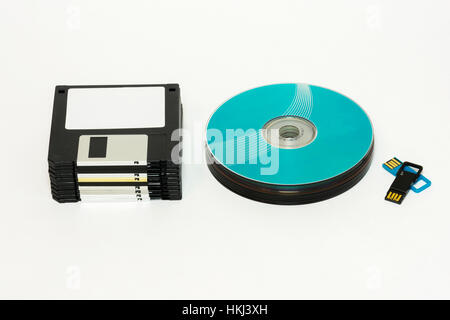 On a white background are Floppy, CD / DVD disk and USB flash - Stock Photo