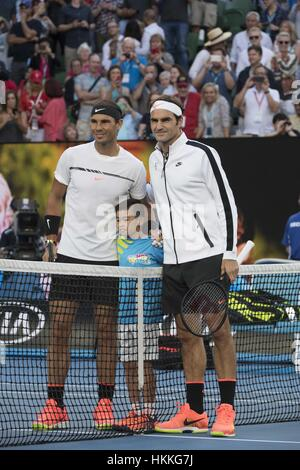 Melbourne, Australia. 29th Jan, 2017. Spain's Rafael Nadal(L) and Switzerland's Roger Federer pose for photo prior - Stock Photo