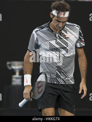 Melbourne, Australia. 29th Jan, 2017. Roger Federer reacts during the men's singles final between Spain's Rafael - Stock Photo