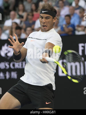 Melbourne, Australia. 29th Jan, 2017. Rafael Nadal returns the ball during the men's singles final between Spain's - Stock Photo