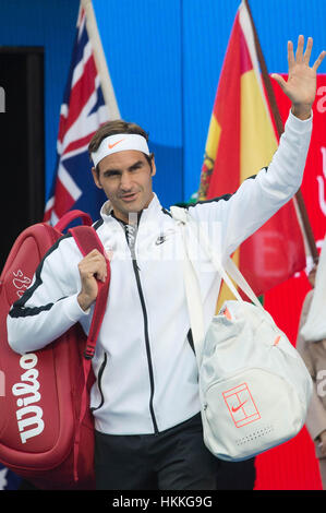 Melbourne, Australia. 29th Jan, 2017. Roger Federer of Switzerland arrives at the court ahead of the men's singles - Stock Photo