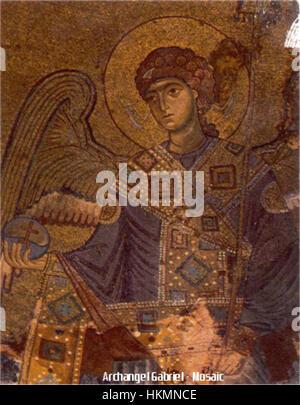 Archangel Gabriel - Gelati Monastery Byzantine Mosaic (circa 1125-1130) - Stock Photo