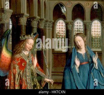 Eyck, Jan van - The Annunciation-figures - Stock Photo