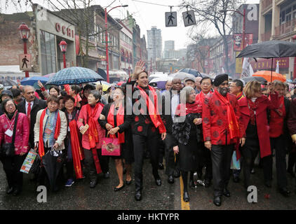 Vancouver, Canada. 29th Jan, 2017. Canada's Prime Minister Justin Trudeau (C) participates in the Chinese Lunar - Stock Photo