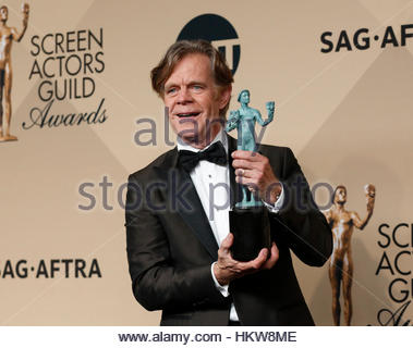 Actor William H. Macy holds the award he won for Outstanding Performance by a Male Actor in a Comedy Series for - Stock Photo