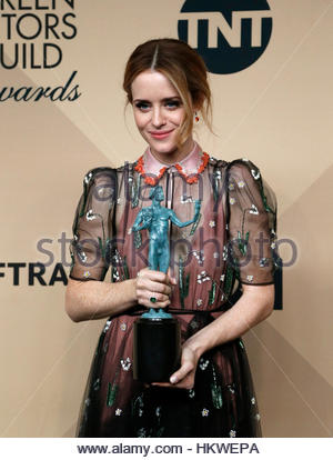 Actress Claire Foy poses with the award she won for Outstanding Performance by a Female Actor in a Drama Series - Stock Photo