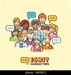 A group of young adult characters in 16-bit graphics. Vector illustration - Stock Photo