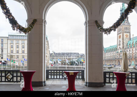 hamburg germany rathaus townhall and kleine alster canal on river stock photo royalty free. Black Bedroom Furniture Sets. Home Design Ideas