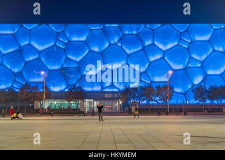 Beijing National Aquatics Center at dusk, Olympic Park Beijing, People's Republic of China, Asia - Stock Photo