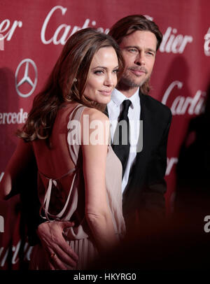 Angelina Jolie and Brad Pitt arrive at the Palm Springs Film Festival in Palm Springs, California, on January 7, - Stock Photo