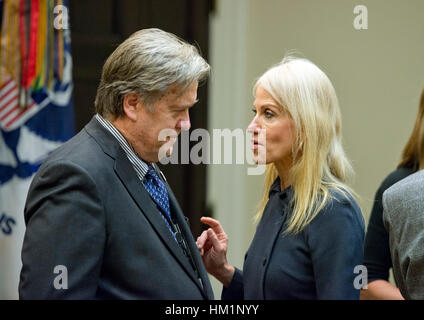 Washington, USA. 31st Jan, 2017. Assistant to the President and Chief Strategist Steve Bannon, left and Counselor - Stock Photo