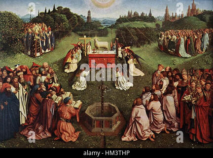 Jan van Eyck - The Ghent Altarpiece - Adoration of the Lamb (detail) - WGA07654 - Stock Photo