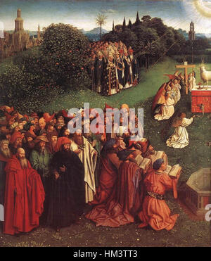 Jan van Eyck - The Ghent Altarpiece - Adoration of the Lamb (detail) - WGA07655 - Stock Photo