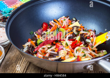 Chinese mix vegetables, fried in a pan - Stock Photo