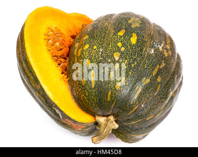 Butternut squash with seeds, cut in half on a white background - Stock Photo