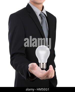 Business man with light bulb against white background - Stockfoto